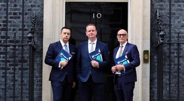The Trade NI leadership team (from left) of Glyn Roberts, Stephen Kelly and Colin Neill at 10 Downing Street