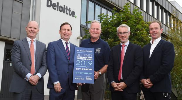 Launching this year's three-day event were (from left) Joe O'Neill, Belfast Harbour; New York State Assemblymen Mike Cusick; Mike Fitzpatrick of the Belfast Homecoming; Terry Robb of Ulster Bank, and Danny McConnell of Deloitte Belfast