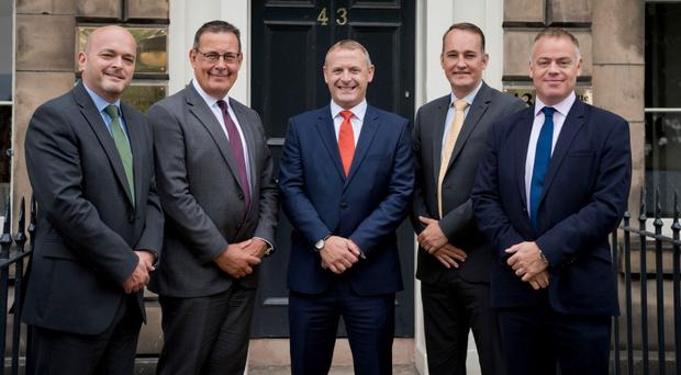 Craig Holmes (centre) with (from left) Harry Linklater, Bruce Walker, Chris Fawbert and Neal Allen