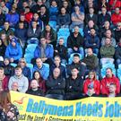 Wrightbus workers and families hold a meeting at Ballymena Showgrounds yesterday