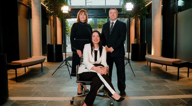 Ann McGregor, chief executive of NI Chamber of Commerce and Industry (left); Dr Dennise Broderick, Galen managing director, and John Poole, partner and head of audit at KPMG, at the inaugural Spotlight event