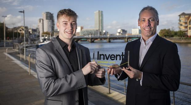 Invent overall winner Lewis Loane, founder of Signal Optimiser, and Gavin Kennedy, head of Business Banking at Bank of Ireland UK, Invent sponsors