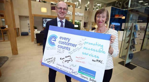Stephen Matchett, Enable, Danske Bank, is joined Dr Evelyn Collins, chief executive of the Equality Commission for Northern Ireland, to celebrate the announcement