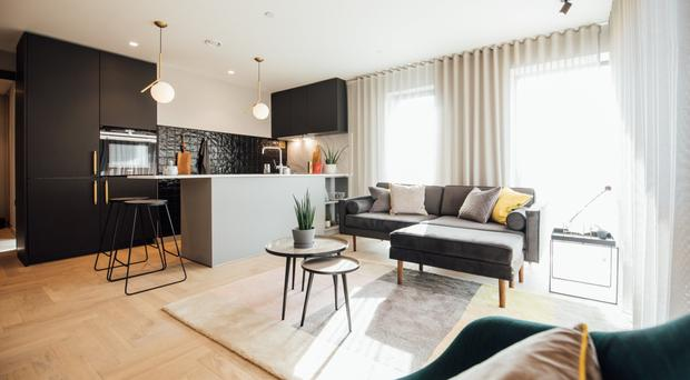 Some of the rooms at the FX apartment building in the heart of Belfast city centre, including living area and bathrooms, and the exterior of the building