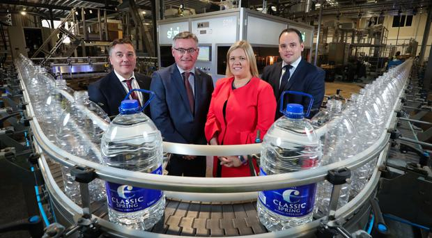 From left: Gerard Watters and Liam Duffy of Classic Mineral Water with Caroline McKeown from Ulster Bank and Declan Napier of Lombard