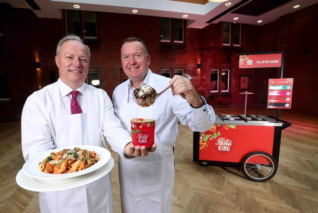 With business entrepreneur Michael Blaney after buying over Devon-based Pasta King