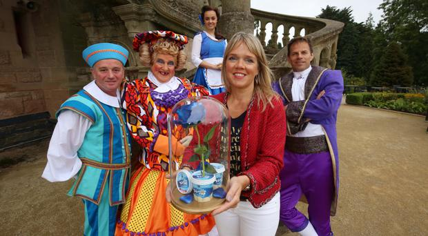 Left to right: Paddy Jenkins, as Mr Potts, May McFettridge, as Mrs Potts, Georgia Lennon, as Belle, Caroline Martin from Dale Farm and Ben Richards, who will play the role of the Beast