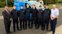 Phoenix Energy Services operations manager Duncan Whelan, Shea Davison (18) from Belfast, Rocco Quinn (16) from Templepatrick, Finn McKendry-Quinn (18) from Killyleagh, Harvey Joyce (20) from Lurgan, Aaron Jennings (17) from Ballynahinch, Daniel Hughes (16) from Belfast and Phoenix Energy Services apprentice mentor Robert McConnell