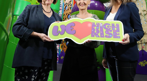 Department of Finance permanent secretary Sue Gray, Employers For Childcare chief executive Marie Marin and TV presenter Sarah Travers at High Rise