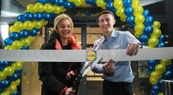 Leah McCourt, Lidl Sport for Good ambassador and MMA gold medallist, with Eoin Doherty of Lidl