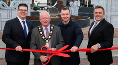 From left: Junction director Chris Flynn, Antrim and Newtownabbey Mayor John Smyth and Craig Stewart and Alastair Coulson of Lotus Property