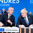 Donald Trump, Jens Stoltenberg, the Secretary General of Nato, and Boris Johnson during the annual Nato heads of government summit yesterday