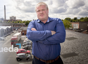 Paddy O'Hagan, on the roof of Neueda's building in Weaver's Court, Belfast