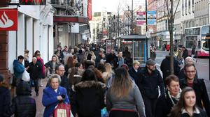A packed Royal Avenue in pre-lockdown days