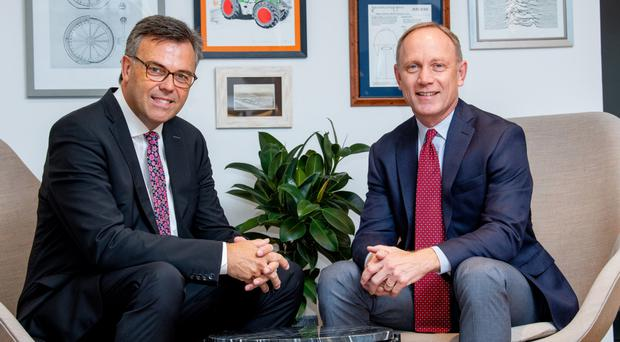 Alastair Hamilton, CEO of Invest NI and Alan Naumann, CEO of Contrast Security at River House, Belfast