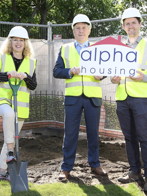 From left: Louise Warde Hunter, from the Department for Communities, with John Clarke, chairman of Alpha Housing, and Jonathan Dobson of Dunrich Properties