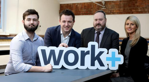 Apprentice Joshua Shannon, Richard Kirk of Workplus, Jim Wilkinson, Department for Economy, and Fallon Gowland from Jacobs