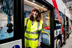 Infrastructure Minister Nichola Mallon at a Translink depot earlier this year