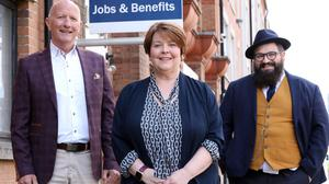 Joining forces: Colin Neill, Ros Agnew, Belfast Jobs & Benefits Office, and Aodhán Connolly. Photo: Darren Kidd