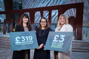Kerrie Sweeney (left), Titanic Foundation Limited, and Judith Owens (right), Titanic Belfast, with Jackie Henry of Deloitte