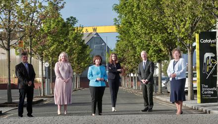 From left: Steve Orr, CEO Catalyst; Kirsty McManus, Director of the Institute of Directors; Economy Minister Diane Dodds; Dr Jayne Brady MBE, Belfast Digital Innovation Commissioner; Michael Ryan, vice president and general manager of Spirit AeroSystems Belfast; and Dr Joanne Stuart OBE, CEO of Northern Ireland Tourism Alliance
