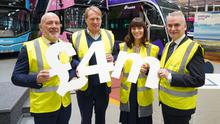 Energia Group chief executive Ian Thom; Jo Bamford, Wrightbus chairman; Infrastructure Minister Nichola Mallon, and Translink group chief executive Chris Conway at the launch of investment in hydrogen-powered buses