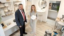 Natasha Rollinson with her advisor from North Belfast Business Centre, Dave Murphy