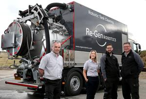 Re-Gen Robotics managing director Fintan Duffy with Vicki Newell, contracts manager, Connor Kelly, robotics operator, and James Power, tanker and site supervisor