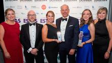 Wilson Nesbitt's property team won awards in last year's Estate Agent of the Year Awards. From left: Kristina Peacock, Ian Creighton, Lauren Burns, host Phil Spencer, Claire Smyth and Hannah-Louisa Ellison