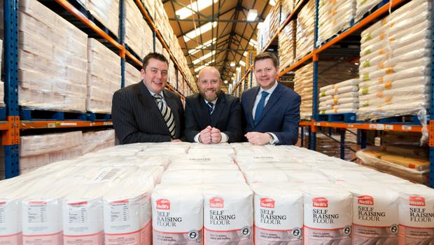 From left: James Eyre, commercial director at Titanic Quarter, Karl McCrum, sales and marketing manager at Neill's Flour, and Andrew Gawley, associate director at Lisney Belfast