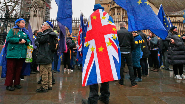 Anti-Brexit protesters outside the Houses of Parliament yesterday