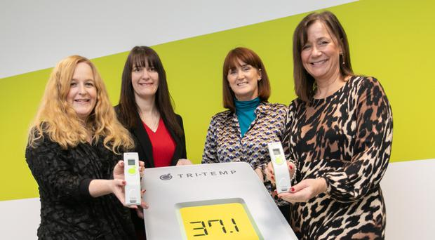 Majella Barkley (second left), centre director at the Innovation Factory, with TriMedika's international sales manager Judith Kee, CEO Dr Roisin Molloy and COO Julie Brien