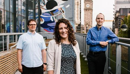Expansion: James Campbell, Laura Haldane and Daniel McRitchie of SciLeads at Clockwise in Belfast