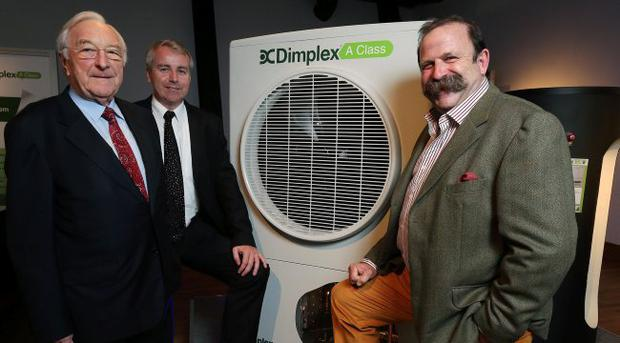 Pictured at the launch of the Glen Dimplex A Class Air Source Heat Pump are: Martin Naughton, Founder of the Glen Dimplex Group, Dick Strawbridge, TV Presenter and Sustainability Expert and Neil Naughton, Deputy Chairman of the Glen Dimplex Group. Picture by Kelvin Boyes / Press Eye