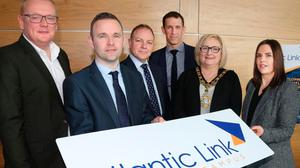 A photo opportunity in 2019 to promote the Atlantic Link enterprise zone near Coleraine. Despite £3m in council investment the site has only one tenant.