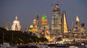 General view of the skyline of central London at sunset, showing St Paul's Cathedral, Tower 42, 22 Bishopsgate and the Leadenhall Building (also known as the Cheesegrater). London's FTSE 100 index rebounds after heavy losses the previous day.