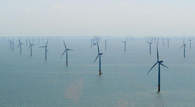 Stock picture of a sea-based wind farm