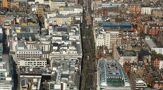 An aerial view of Oxford Street, London