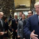 President Donald Trump making his controversial comments about Charlottesville to the media in the lobby of Trump Tower, Tuesday (AP Photo/Pablo Martinez Monsivais)