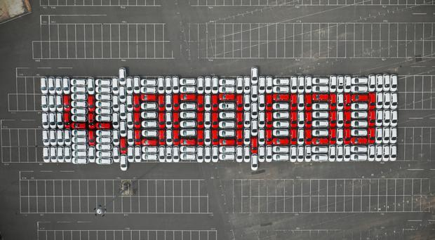 236 Vauxhall Astra cars spelled out the figure as the four millionth Vauxhall Astra rolled off the production line (Vauxhaull)