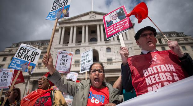 Bank of England workers protest during strike action over pay