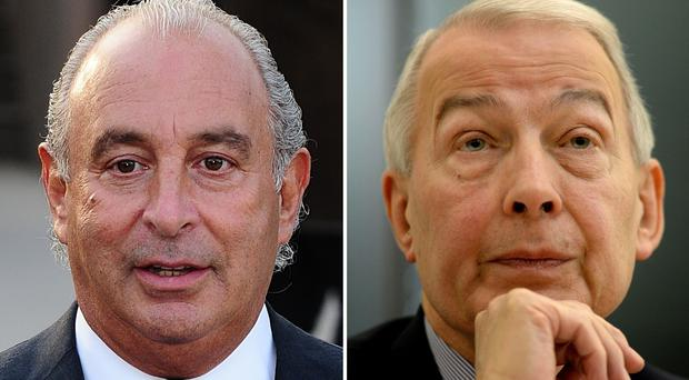Sir Philip Green (left) and Labour MP Frank Field (PA)