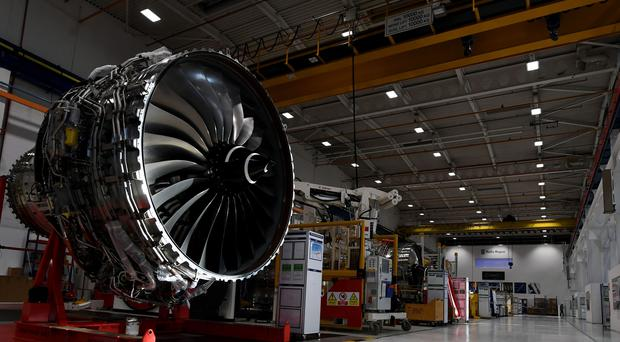 The Rolls Royce XWB engine assembly line at the Rolls-Royce's aero engine factory in Derby (PA)