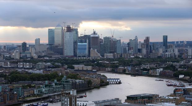 A view of Canary Wharf and the River Thames (PA)