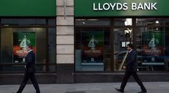 A branch of Lloyds Bank in the City of London. The bank has pledged to lend £18 billion to UK businesses.