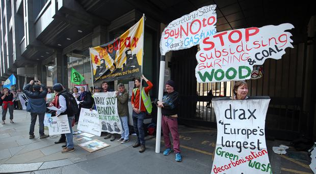 Enviromental campaigners from Biofuelwatch protesting at the AGM (PA)