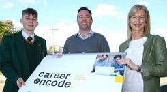 Dawid Lysakowski from Limavady (left), who has secured an apprenticeship with Mallon Technology with David McQuillan, director of Mallon Technology, Cookstown and Camilla Long, Career Encode facilitator