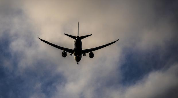 A general picture of a plane on final approach to Heathrow Airport in West London.