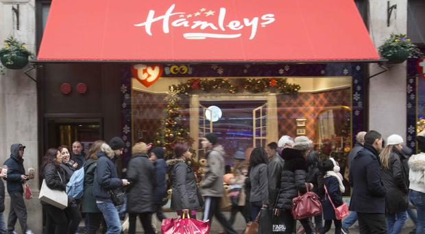 Hamleys toy shop on Regent Street, central London. The toy chain has been bought by India's richest man Mukesh Ambani
