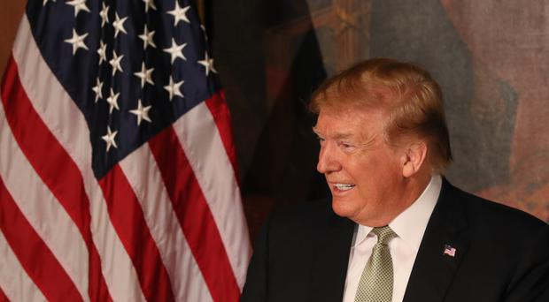 US President Donald Trump at the Speaker's Lunch attended by Taoiseach Leo Varadkar on Capitol Hill in Washington DC (Brian Lawless/PA)